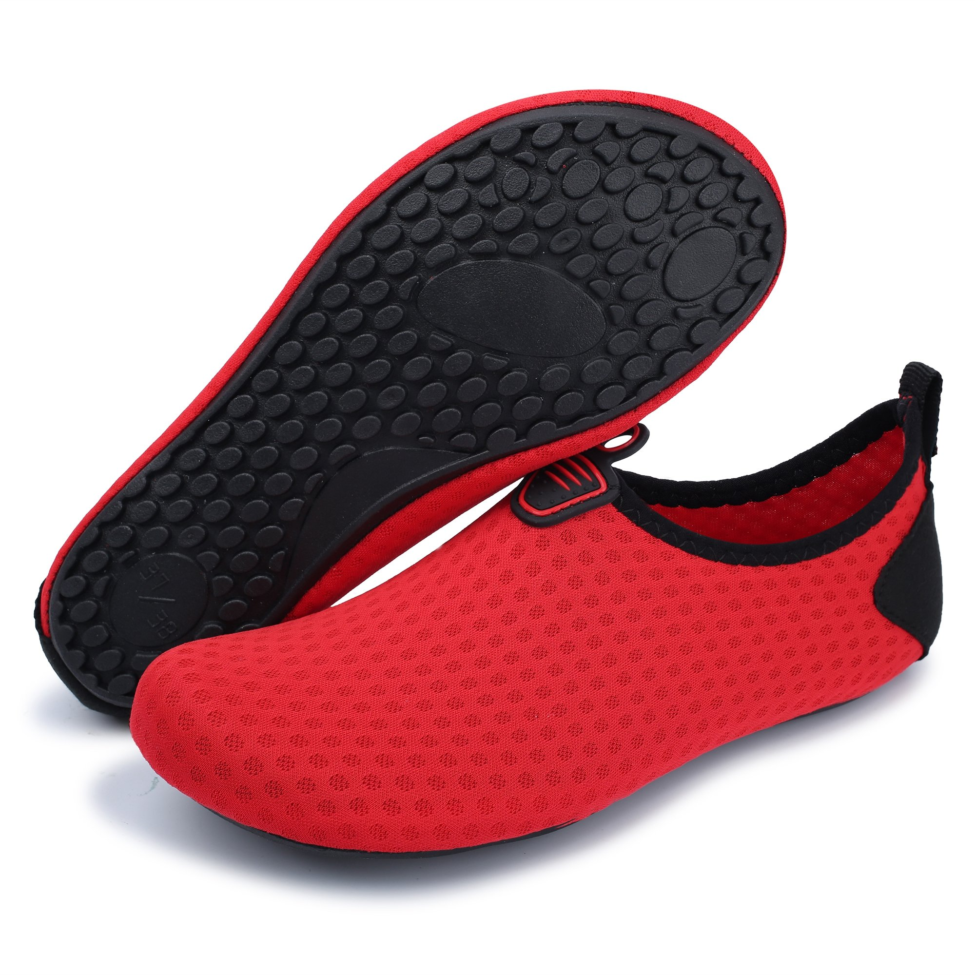 MoreDays Non-Slip Water Sport Shoes Light Barefoot Quick Dry Aqua Socks for Beach Pool Swimming Yoga Exercise red 3XL