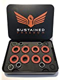 Sustained Freedom Skate High Performance Skateboard Bearings - Titanium Alloy Ring with Chrome Steel Ball (8 Pack with Washers and Spacers)