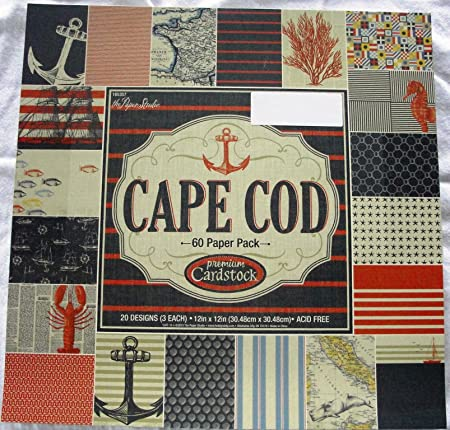 Cape Cod Scrapbooking Paper Pack 12x12 Nautical Anchors Lobsters
