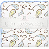 SwaddleDesigns Ultimate Swaddle Blanket, Made in USA, Premium Cotton Flannel, Pastel Blue Paisley