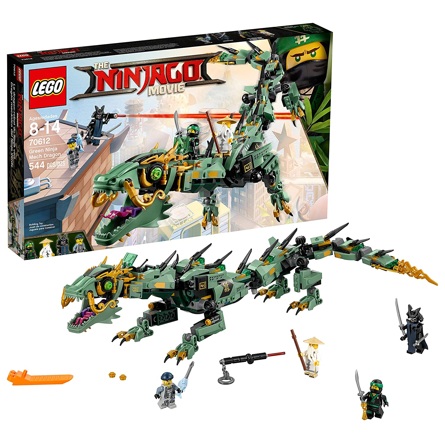 LEGO Ninjago Movie Green Ninja Mech Dragon 70612 Ninja Toy with Dragon Figurine Building Kit (544 Piece)