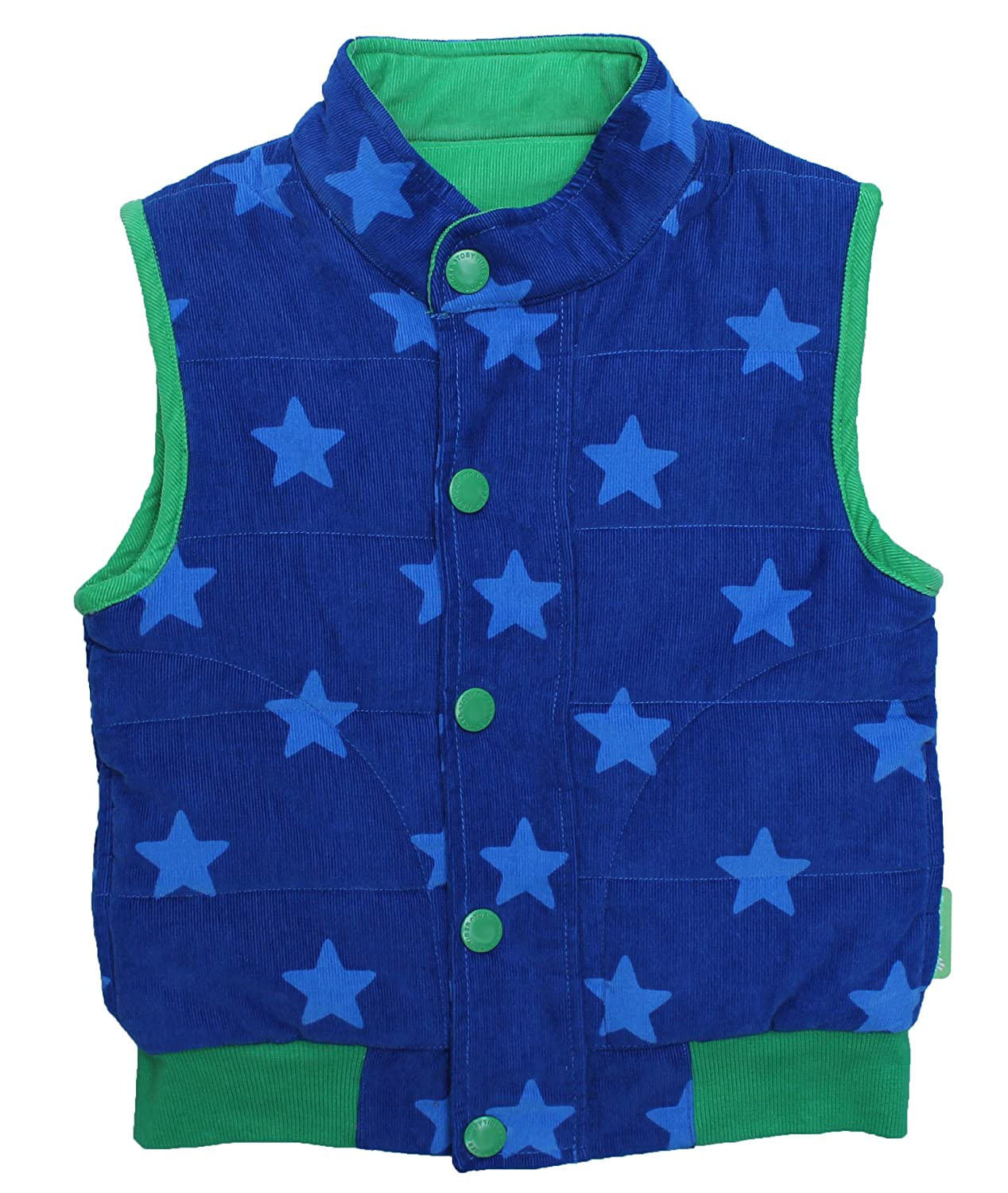 Toby Tiger Cord Blue Star Single Breasted Boy's Gilet Cord Gilet Blue Star