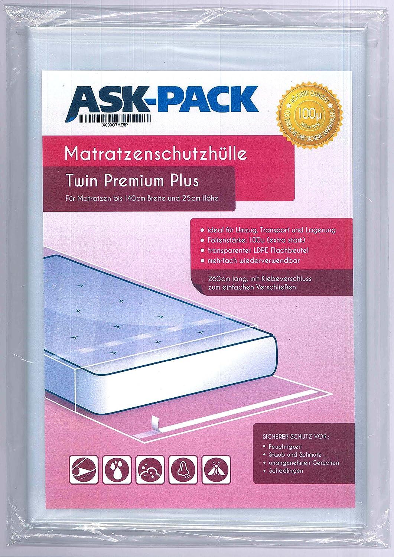 ASK Pack Bolsa de Colchón Twin Premium para un Colchón de 140cm de Ancho / 25cm Grosor/y hasta 220cm Largo - con Cierre Adhesivo - Reutilizable - Extra Fuerte 100µ - Extra Largo 260 cm