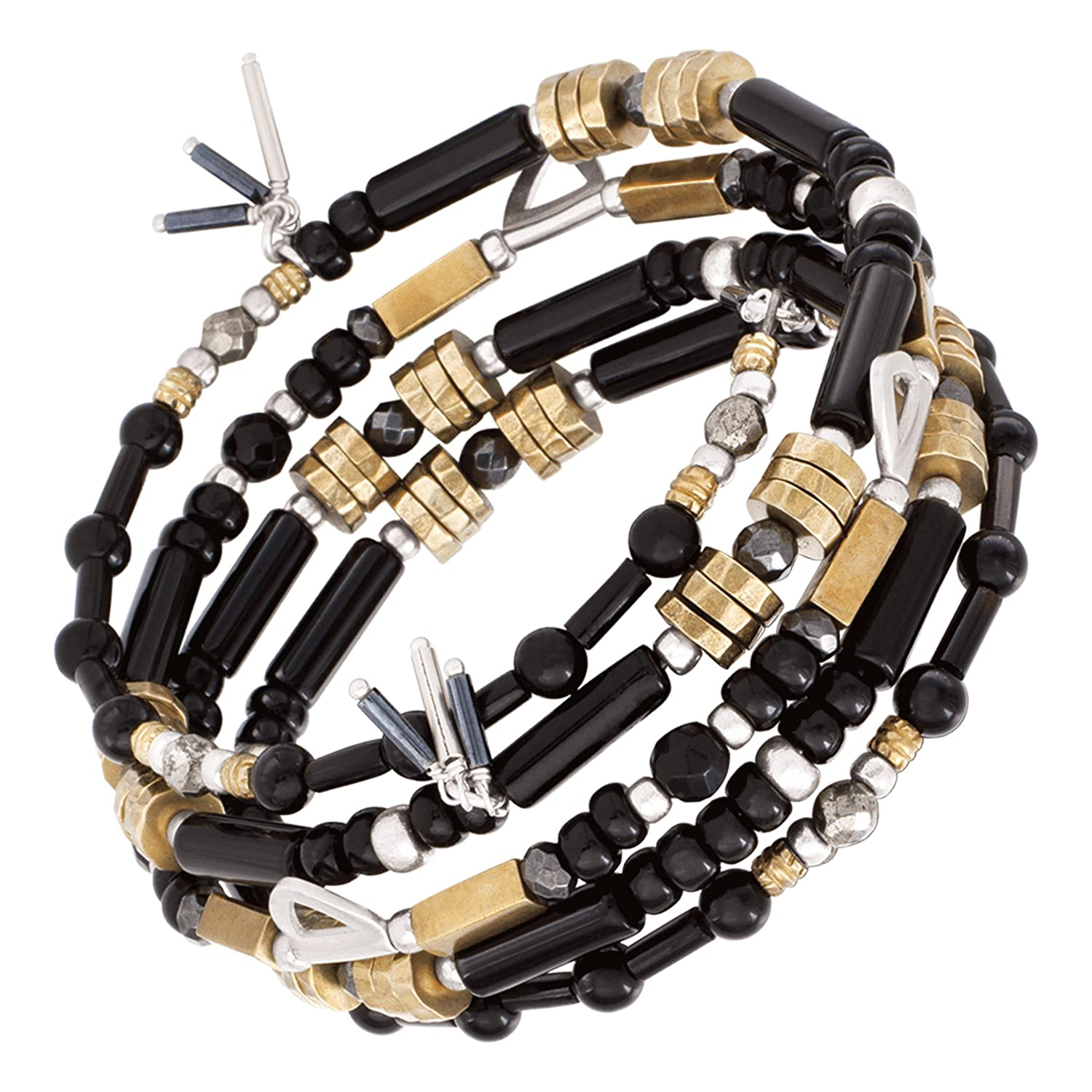 """Silpada 'Nightfall' Natural Agate, Hematite, Pyrite Wrap Bead Bracelet in Sterling Silver and Brass, 8"""""""
