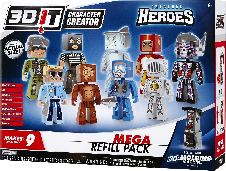 3D It Character Creator Teenage Mutant Ninja Turtles Mega Refill Pack Makes 9