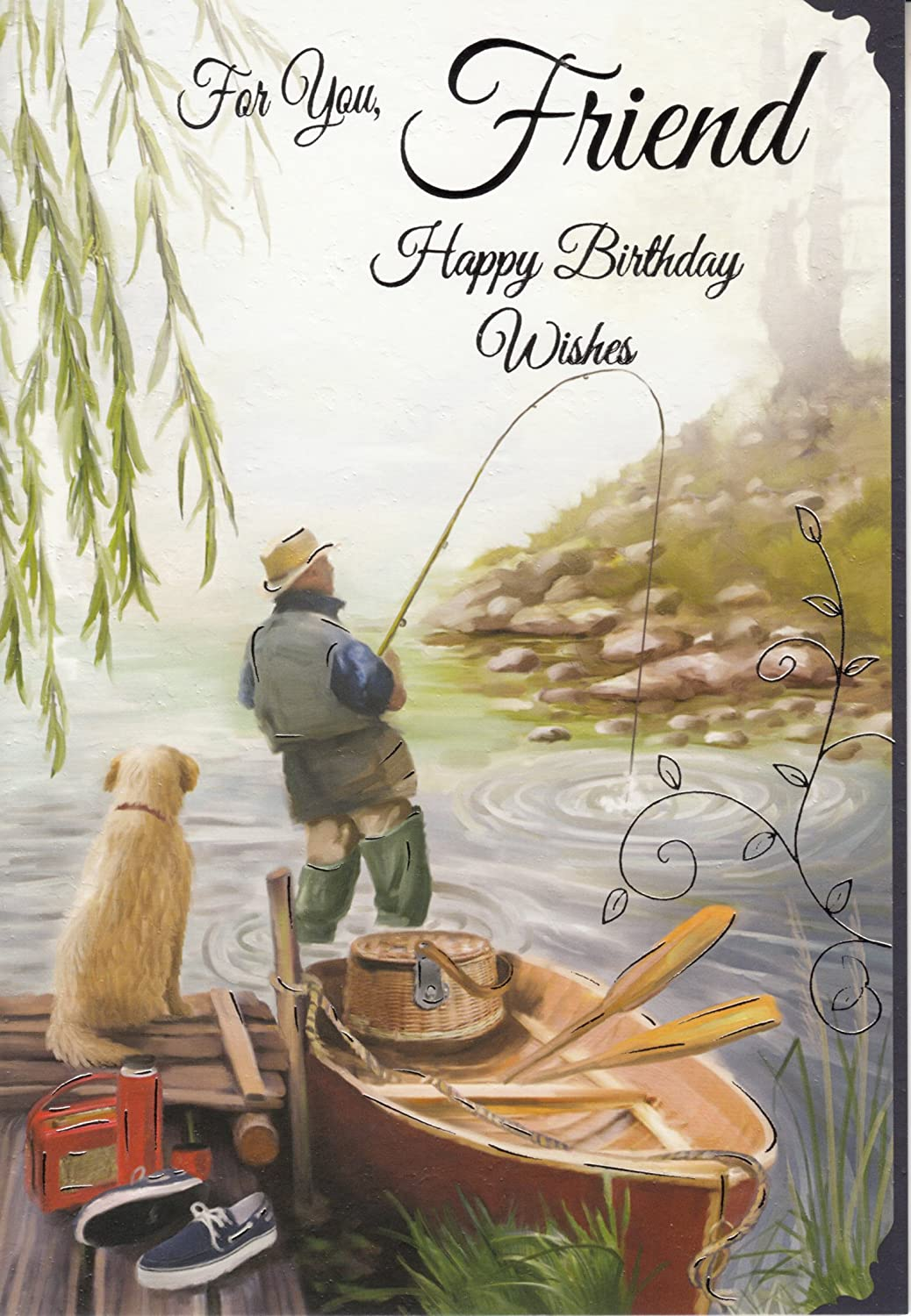 Amazon for you friend happy birthday wishes fishing birthday amazon for you friend happy birthday wishes fishing birthday card kitchen dining kristyandbryce Choice Image