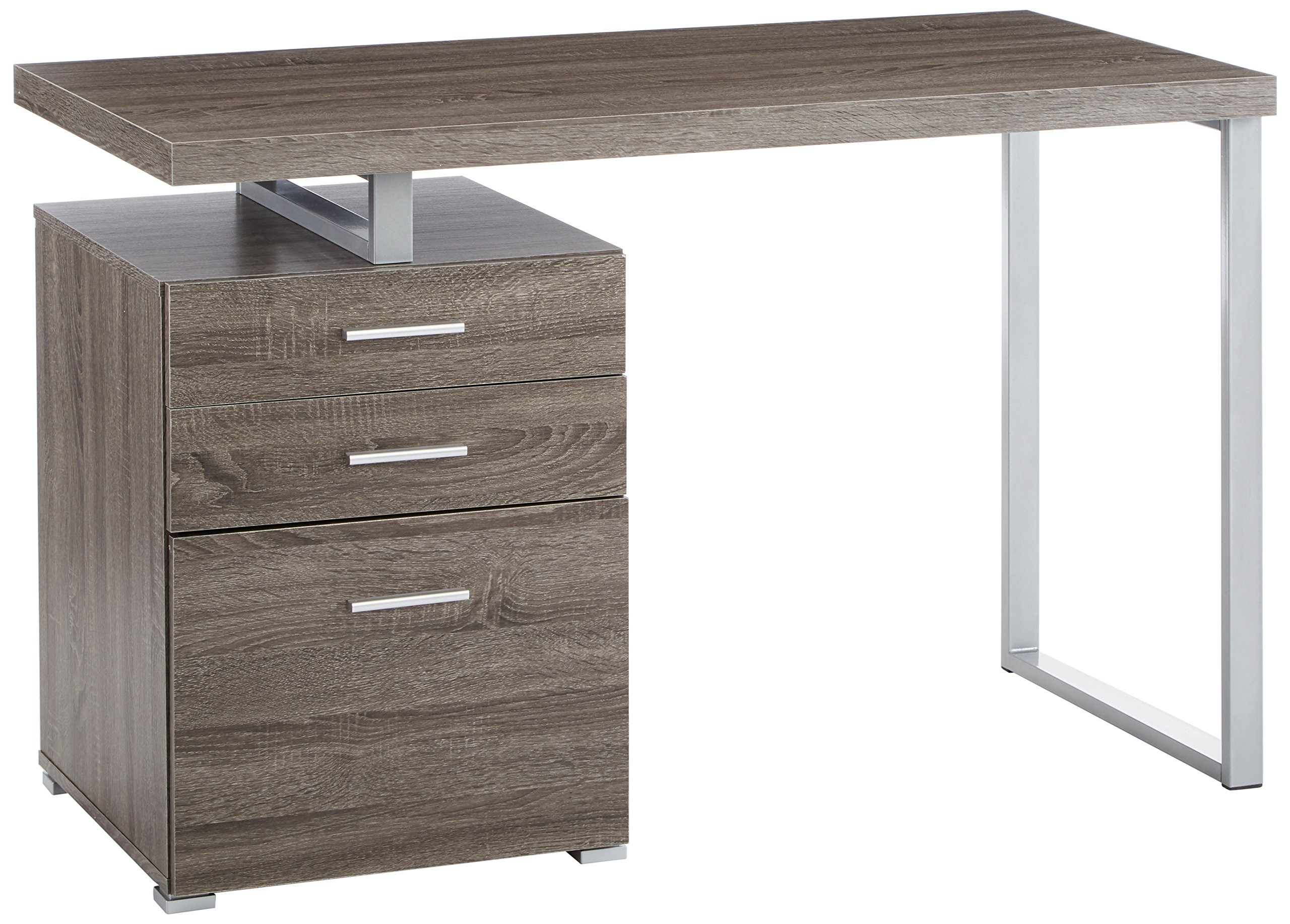 Office Desk with File Drawer and Reversible Set-Up Weathered Grey by Coaster Home Furnishings