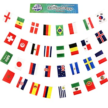 6c2907c6694d World Cup Bunting Russia 2018 Football Banner Flags Fabric 10m with All 32  Teams