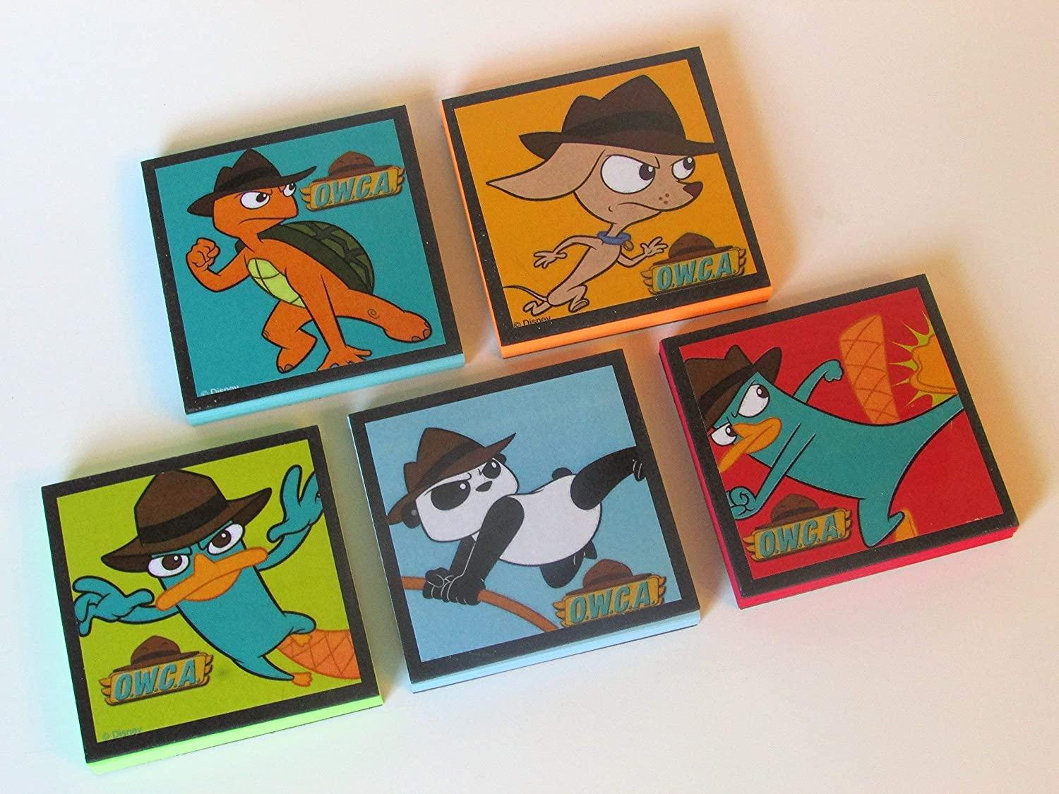 Perry the Platypus Birthday Party Favors set #3 Phineas and Ferb Perry the Platypus OWCA Note Pads Set of 5 - Excellent Party Favors