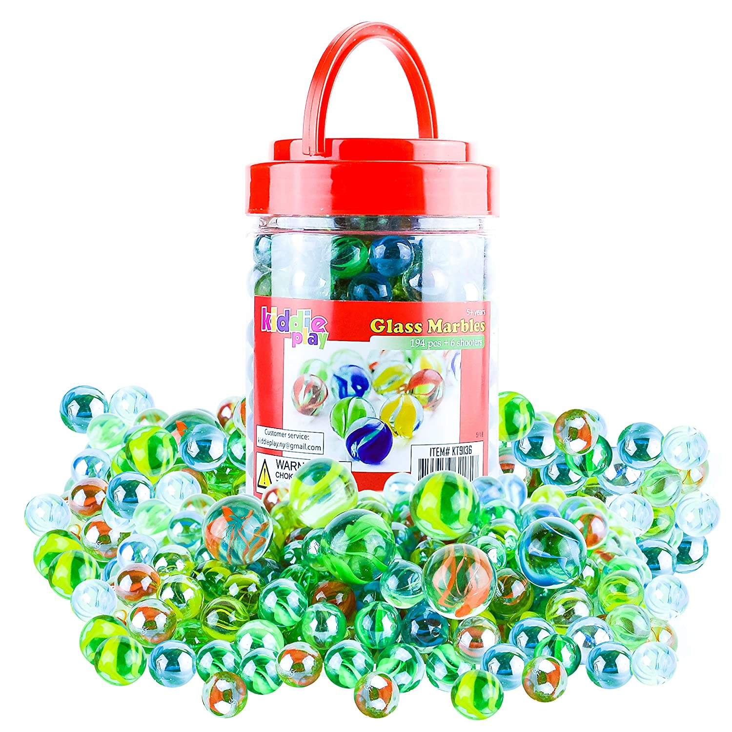 Kiddie Play 200 Glass Marbles for Kids Bulk Including 6 Shooters in Reusable Storage Box