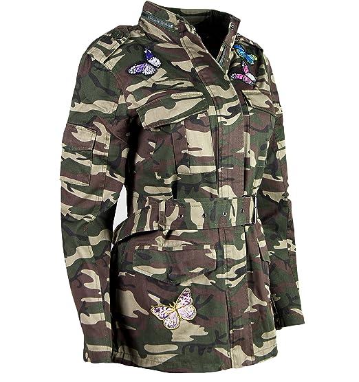 ALZORA Damen Jacke Camouflage Parka Militär Übergangsjacke Patches Blouson,  F808  Amazon.de  Bekleidung 311ce0f22e