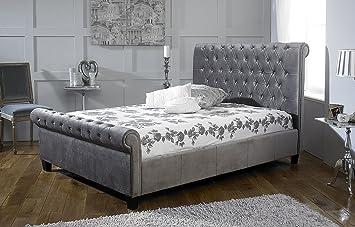 6ft superking orbit designer bed frame plush silver velvet fabric - Designer Bed Frames
