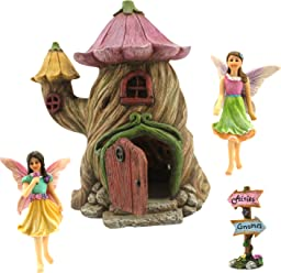"Fairy Garden House Accessories Kit – Miniature Fairy Figurines – 7"" High House – Door can open wide – Supplies by Pretmanns"