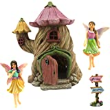 "Fairy Garden House - Accessories Kit & Miniature Fairies - House is 7"" (18cm) High - Door can open wide - By Pretmanns"