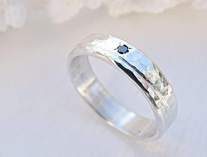 Amazon Com Diamond Wedding Band Silver Ring Fancy Diamond Diamond