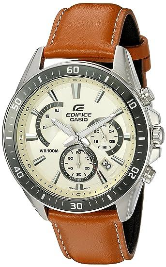 02850d12f9b0 Casio De los hombres quot Edifice cuarzo reloj automático acero inoxidable  y piel