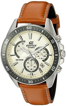 52104f4b217d Amazon.com  Casio Men s  Edifice  Quartz Stainless Steel and Leather ...