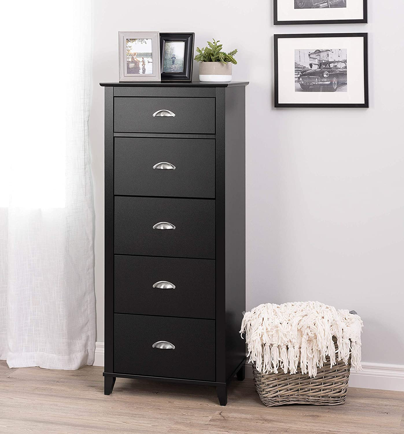 Black 5-Drawer Tall Chest Prepac Yaletown 5-Drawer Tall Chest, White