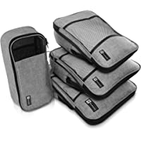 Premium Compression Packing Cube Luggage Organizers: Set of 4 Stylish Travel Packing Cubes Including Shoe Tote and Top Quality Zippers