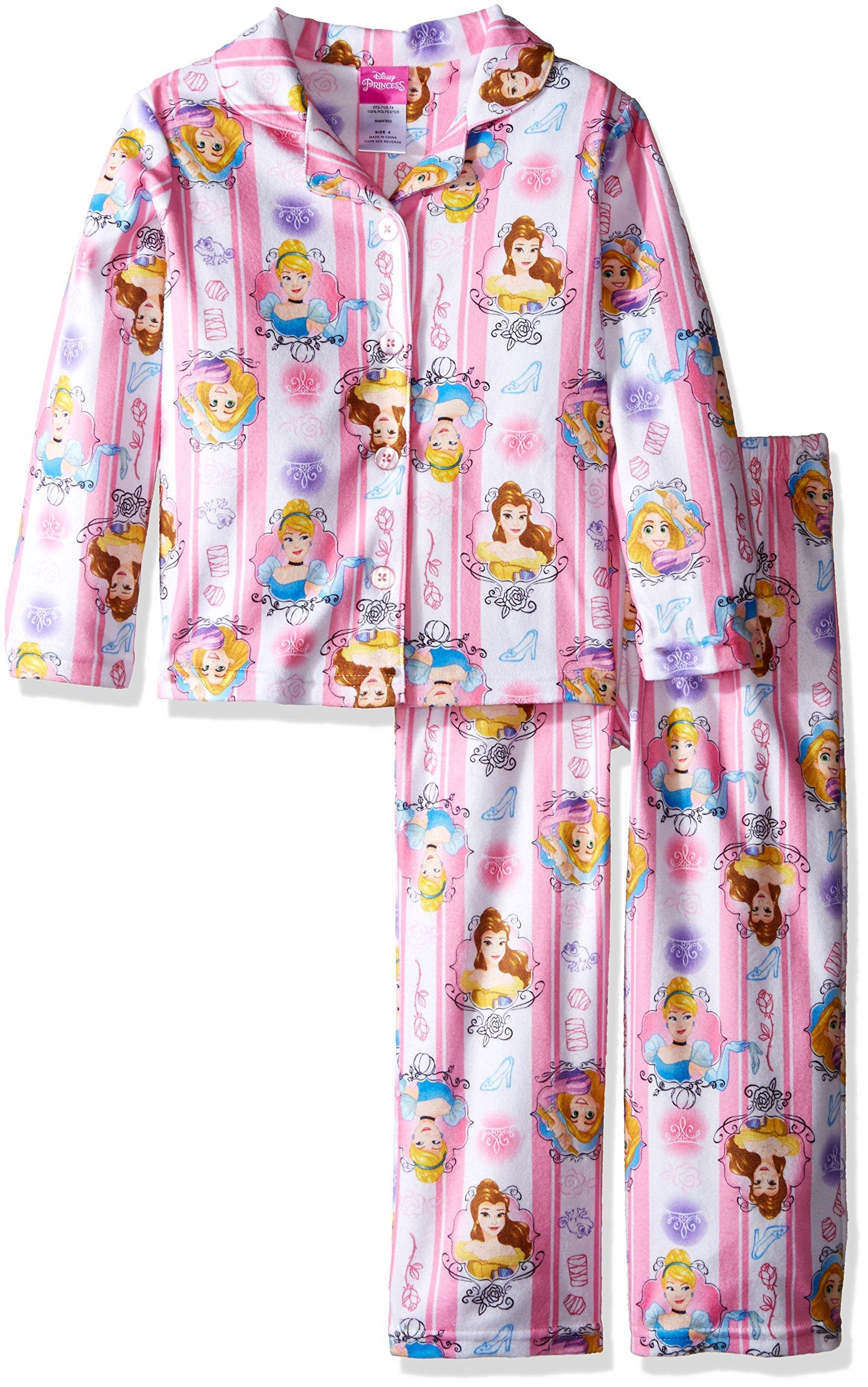 Disney Girls' Big Girls' Princess 2-Piece Pajama Coat Set, Pink, 8