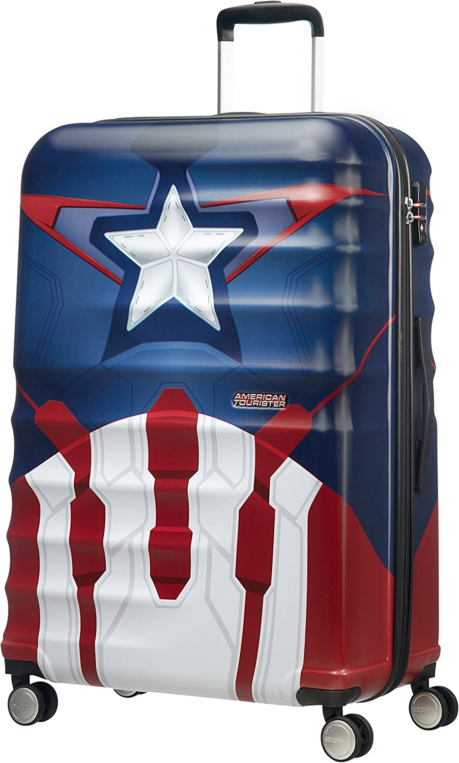 American Tourister Disney Wavebreaker Marvel - Maleta, Cuatro Ruedas, Multicolor (Captain America Close-Up), L (77cm-96L)