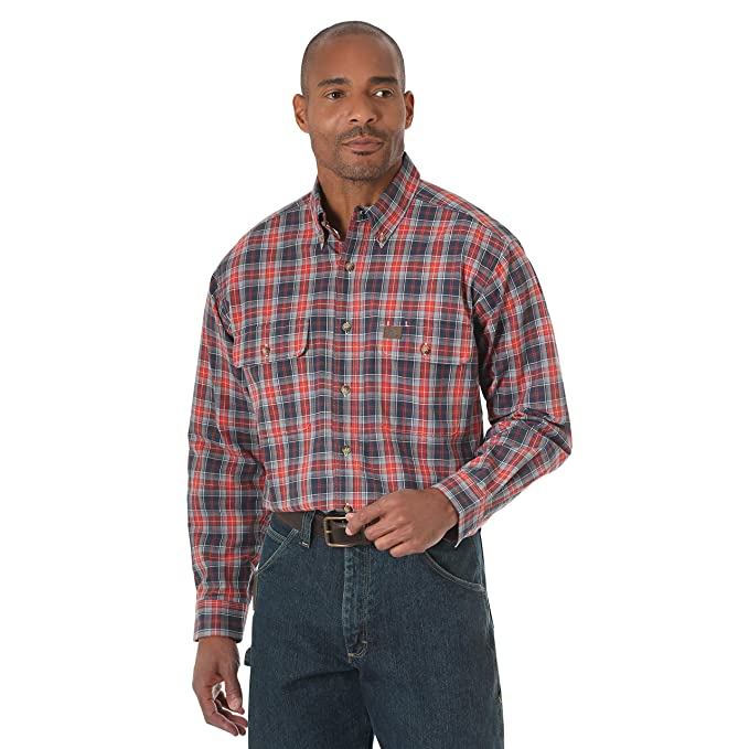 3fd6d945af Wrangler Men s Big and Tall Riggs Workwear Big   Tall Foreman Long Sleeve  Work Shirt
