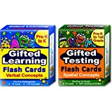 Gifted Testing Flash Cards (2-Pack) – Verbal and Spatial Concepts for Pre-K - Kindergarten – Practice for CogAT Test, OLSAT Test, NNAT Test, NYC Gifted and Talented, ITBS Test, WISC, WPPSI, AABL