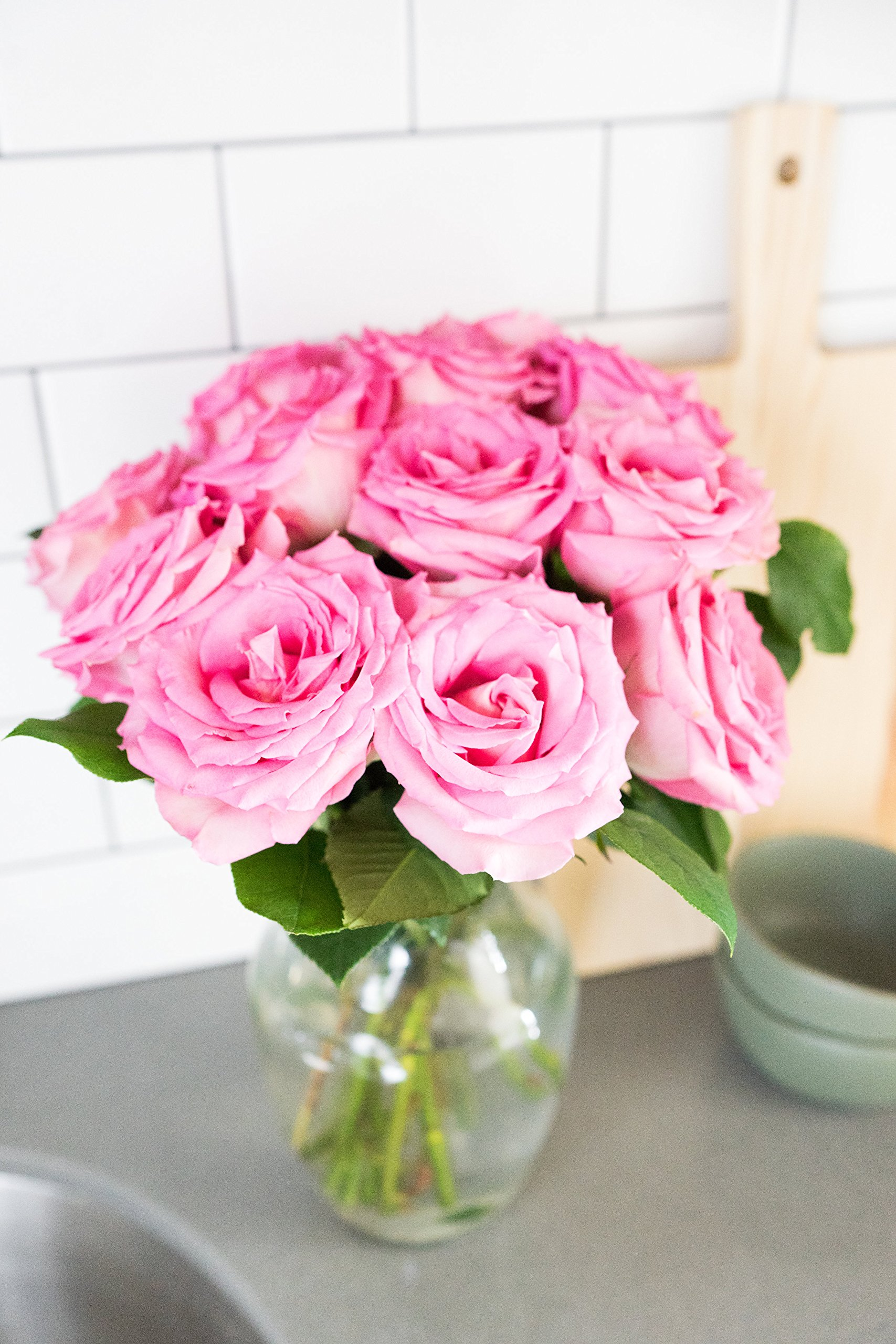 Flowers - One Dozen Light Pink Roses (Free Vase Included) by From You Flowers (Image #3)