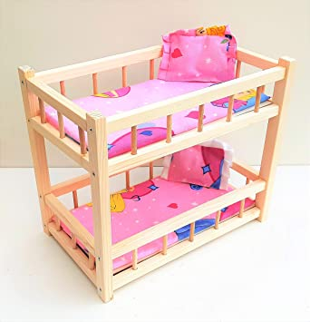 Nattoyz Wooden Toy Bunk Bed For 2 Dolls Fit Dolls Size 14 Long