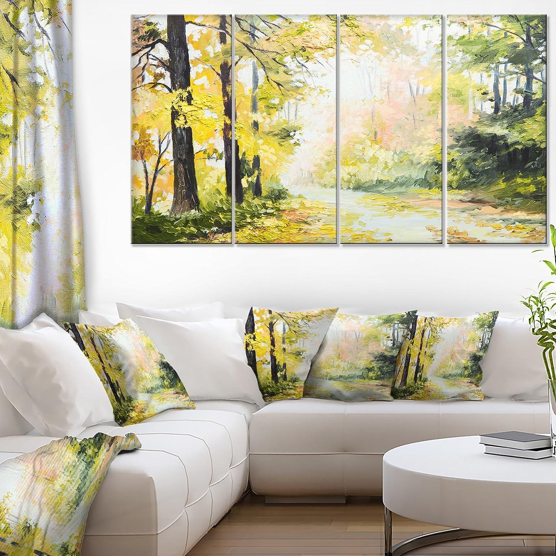 Amazon.com: Designart Road in Colorful Forest Landscape on Canvas ...