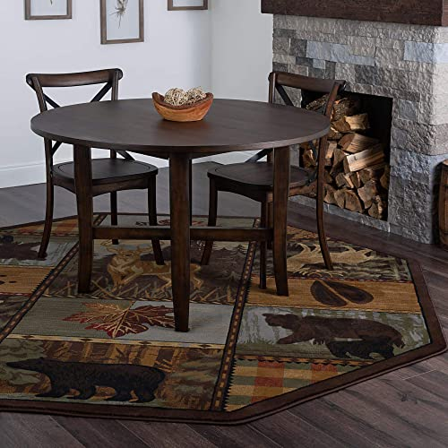 Tayse Colorblock Wildlife Multi-Color 8 Foot Octagon Area Rug Cabin for Living, Bedroom, or Dining Room – Lodge, Novelty