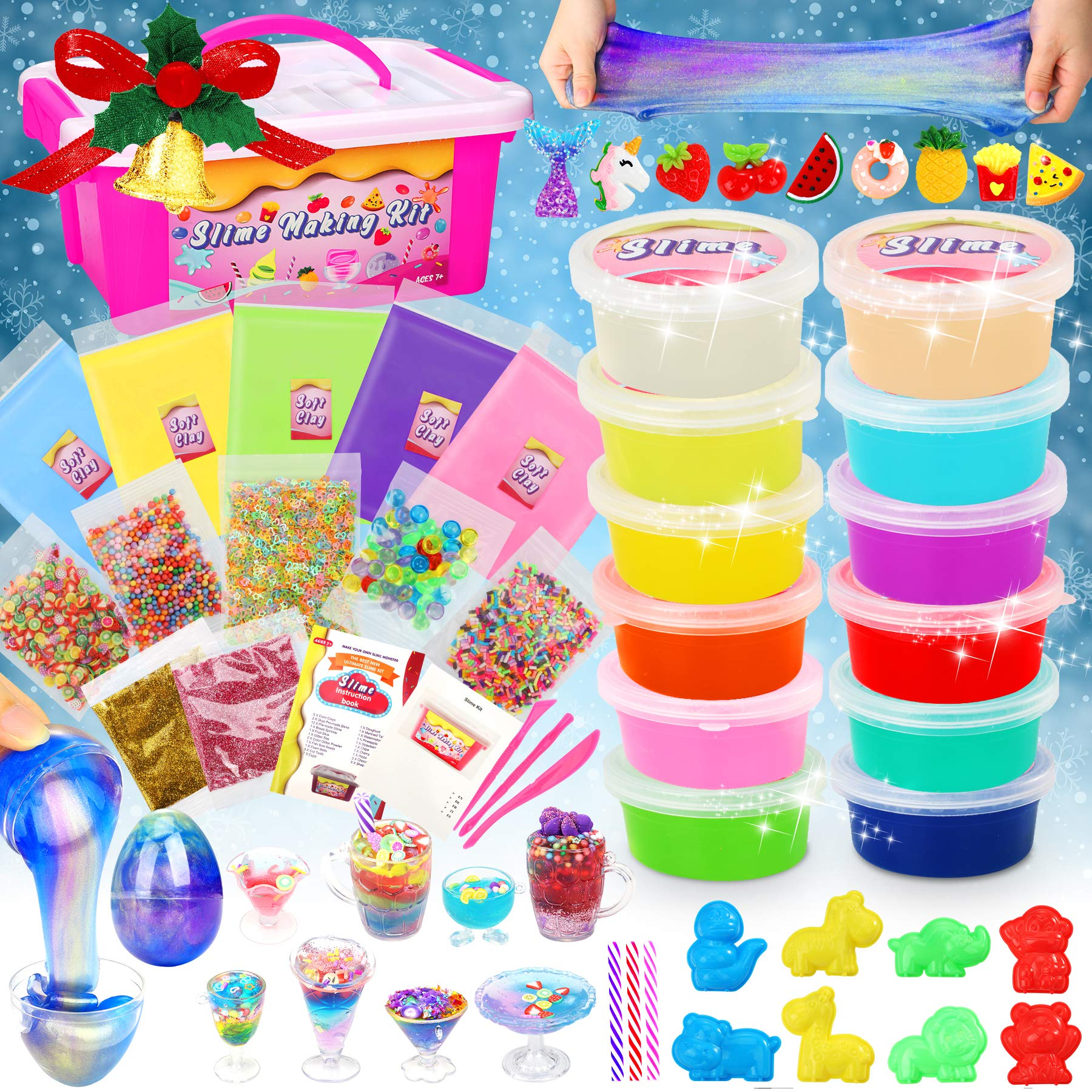 Dookey DIY Fluffy Slime Kit, Crystal Slime Set with Galaxy Eggs Slime, Clear Slime Making Kit with Animal Molds Slime Cups for Girls Boys aged 6+Toys Game Holiday Art Craft ( 12+5 colors)