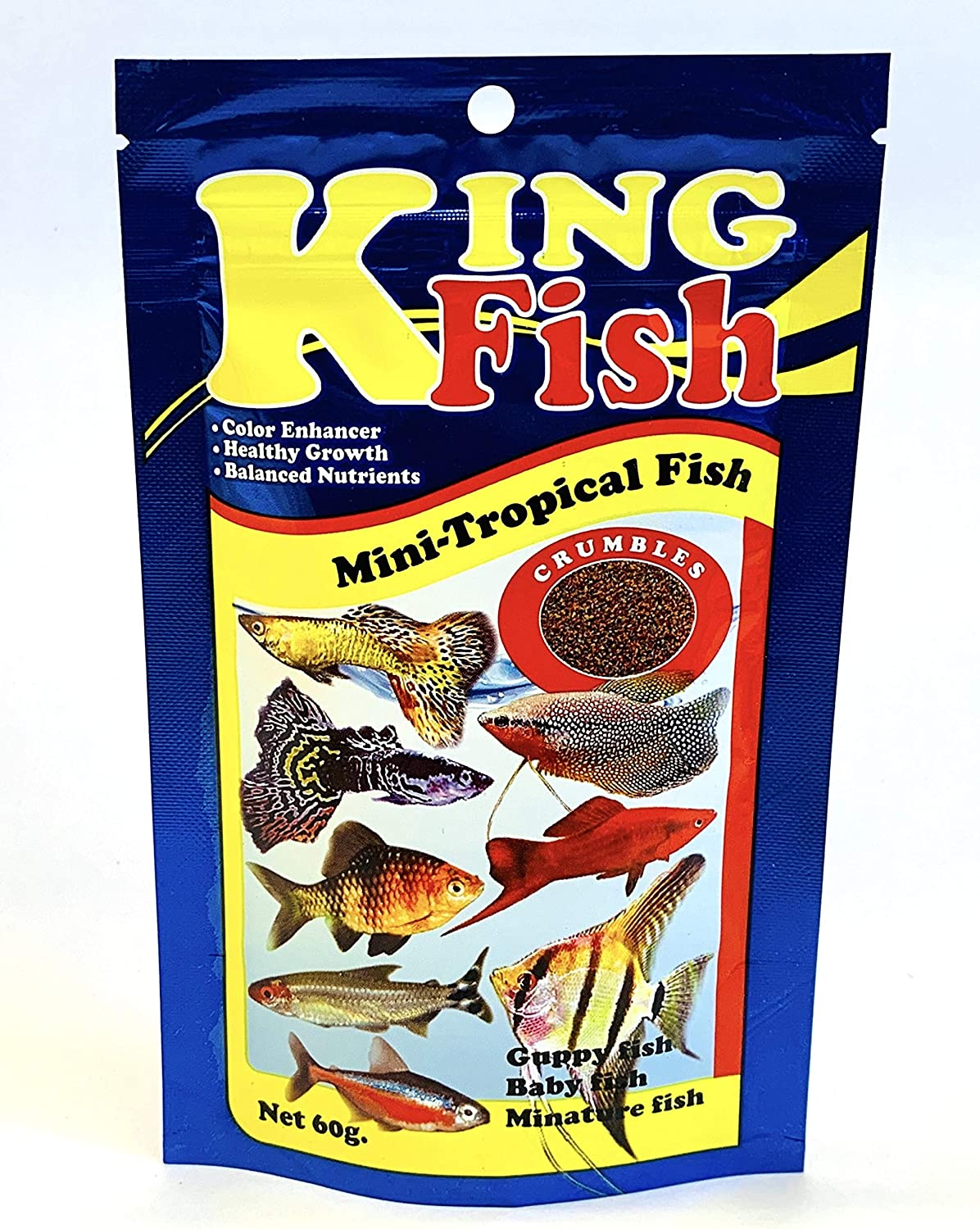 King Tropical Fish Food Mini Small Size Floating Sinking Flakes Pellets Mixed Fish Food High Protein 45% Special Fish Feed 60 Gram, Healthy Nutrition Color Enhancer Clean & Clear Water Formula