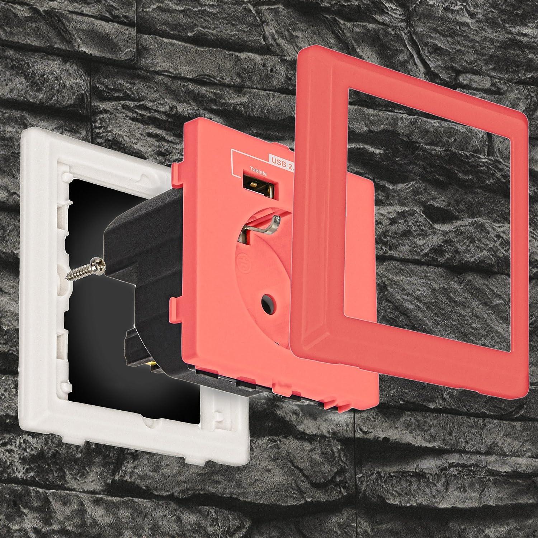 """Minadax® Schutzkontakt Steckdose 230V 220V /""""Pink/"""" mit 2x USB Anschluss"""