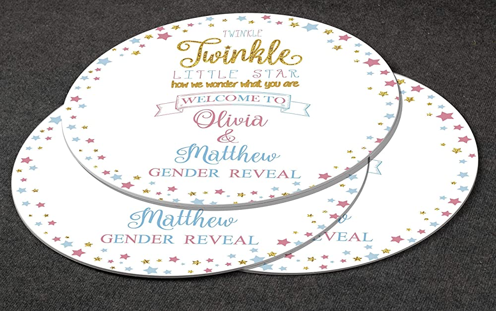 Personalized Round Gender Reveal Party Decor Custom Circle Poster Round Twinkle Twinkle Little Star Gender Reveal Welcome Sign Star Baby shower 24 and 36 Inches Baby Shower Party Decoration