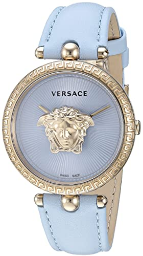 3c93752266 Versace Womens Analog Quartz Watch with Leather Calfskin Strap VECQ00918:  Amazon.co.uk: Watches
