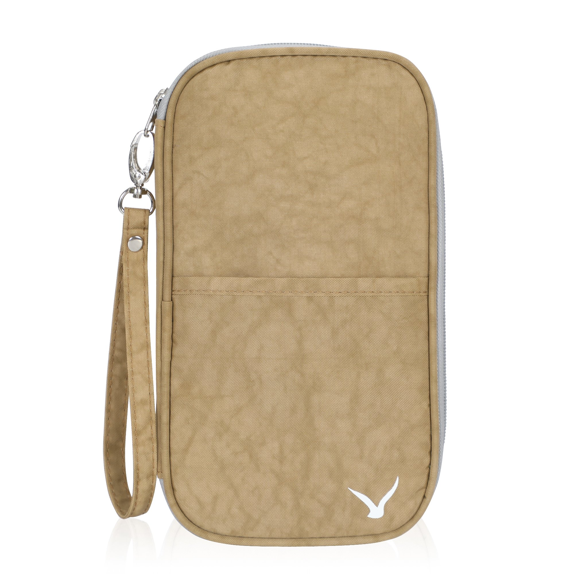 Hynes Eagle Travel Passport Protection Wallet Passport Holder Credit Card Wallet Khaki RFID Blocking