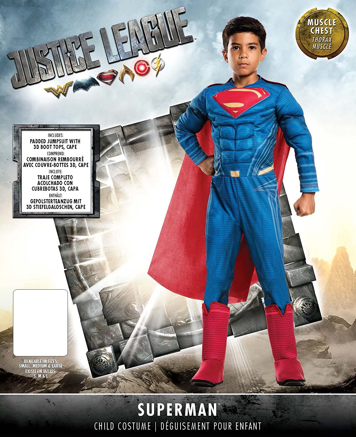 Rubies Costume Boys Justice League Deluxe Superman Costume, Small, Multicolor