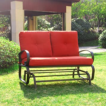 Great Cloud Mountain Outdoor Patio 2 Person Loveseat Cushioned Rocking Bench  Furniture Patio Swing Rocker Lounge Glider