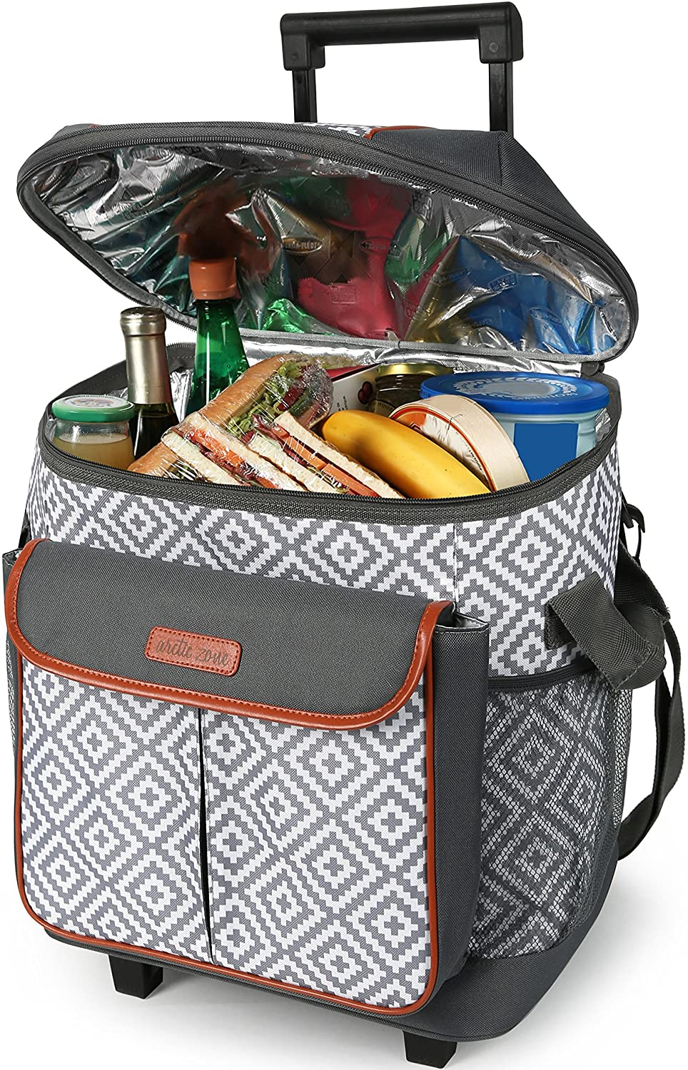 Arctic Zone 44-81453-00-08 Hot Cold Insulated Rolling Tote, 44 Can Capacity, Diamond Mosaic – Gray White