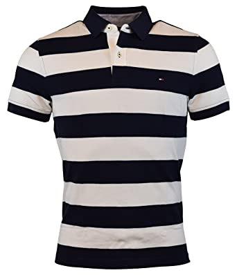 d4a7275f3 Tommy Hilfiger Men's Custom Fit Wide Stripes Polo (Medium, Navy/White) at  Amazon Men's Clothing store: