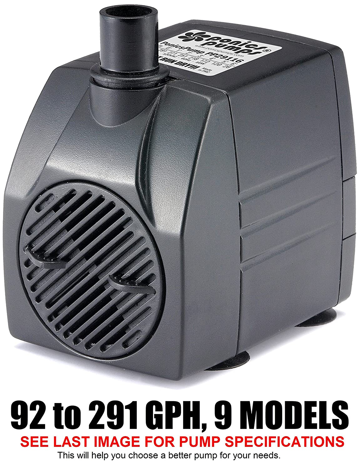 291 GPH   16' Cord PonicsPumps PP29116  291 GPH Submersible Pump with 16' Cord 16W. for Hydroponics, Aquaponics, Fountains, Ponds, Statuary, Aquariums & more. Comes with 1 year limited warranty.