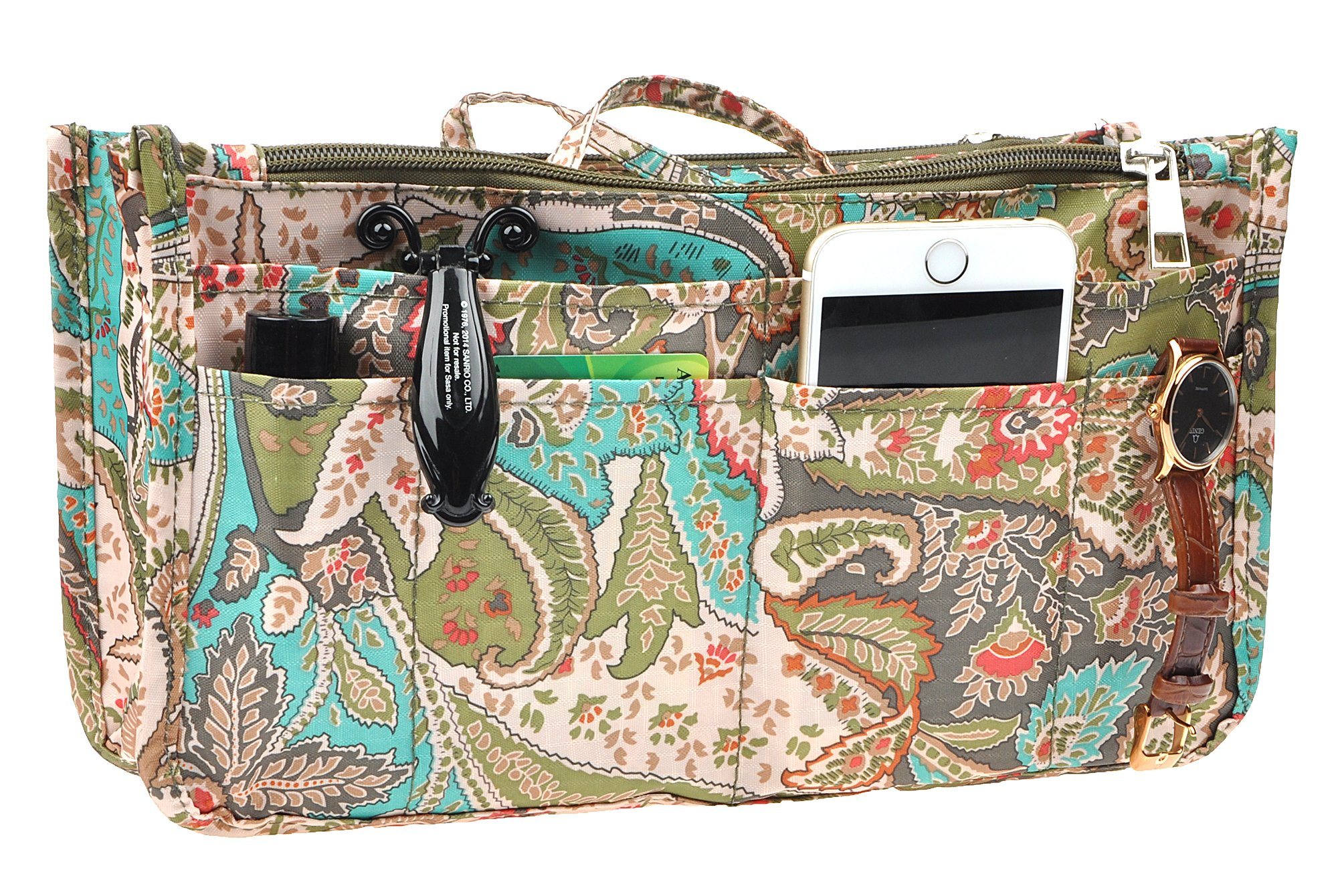 Vercord Printed Purse Handbag Tote Insert Organizer 13 Pockets With Zipper and Handles 2 Size, Peacock Flowers L
