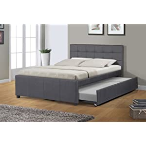 Best Quality Furniture Full Bed W/Trundle, Dark gray
