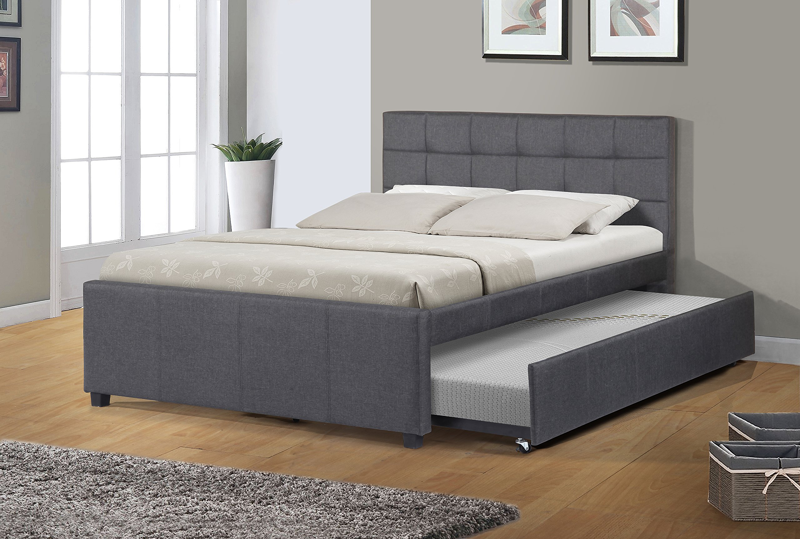 Best Quality Furniture K27 Bed W/Trundle, Full, Dark gray