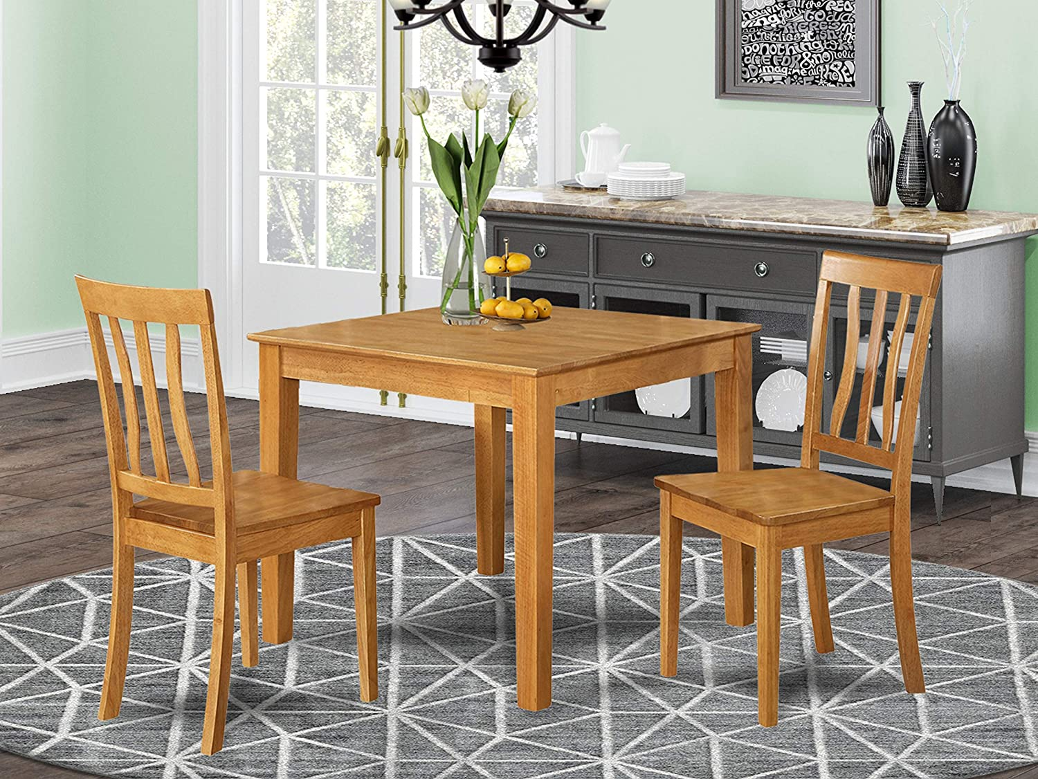Amazon Com 3 Pc Small Kitchen Table And Chairs Set Square Kitchen Table And 2 Dining Chairs Furniture Decor