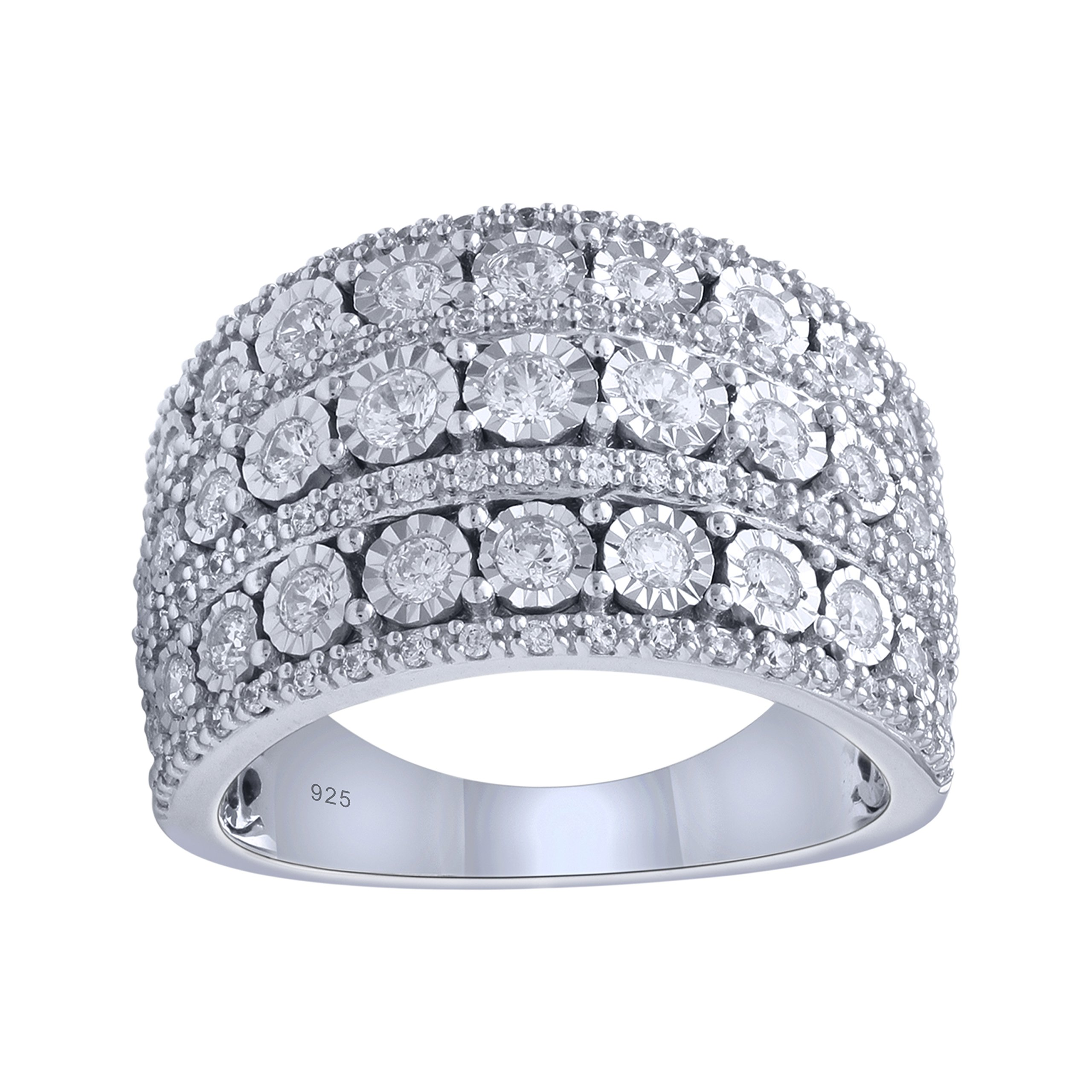 Sterling Silver 1cttw Extra Wide Diamond Anniversary Ring