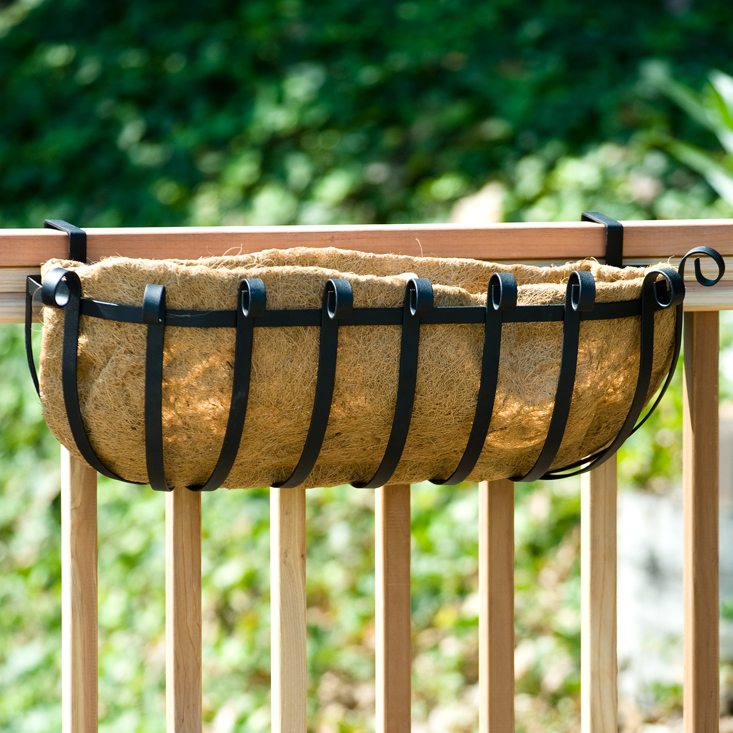 24 inch XL Scroll Railing Planter w/ XL Coco Liner and bracket pair for 2x6 wood railing