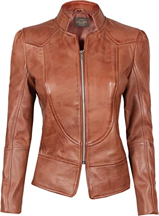 Womens Fashion Real Leather Coat Brown