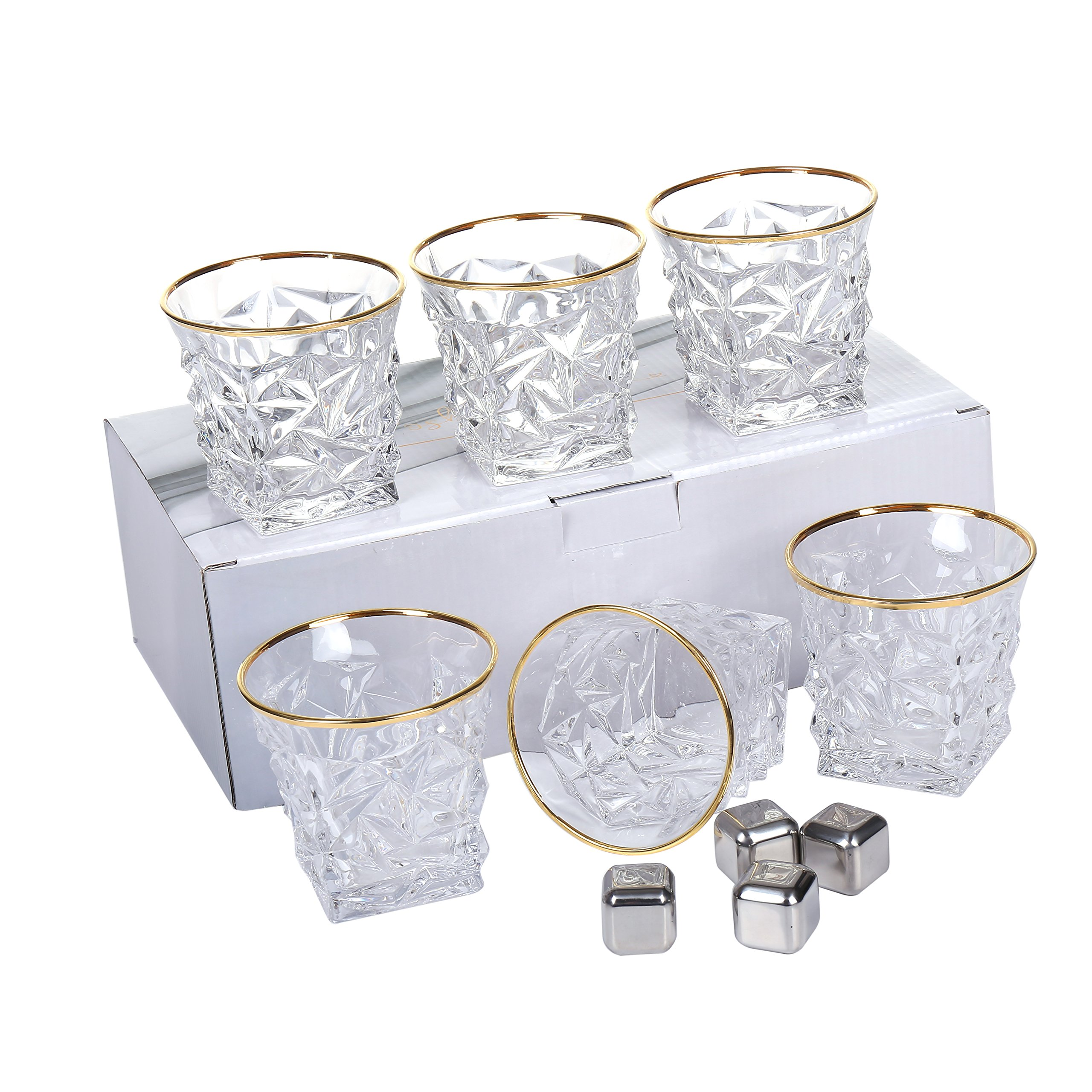 Posh Five Whiskey Glasses Set of 6 Diamond Scotch Glasses + 4 Stainless Steel Whiskey Stones by Posh Five Trading Co (Image #8)